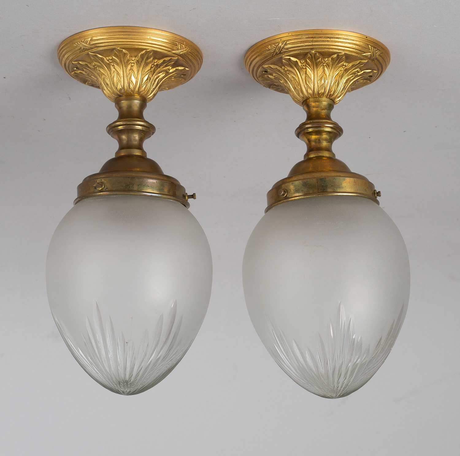 Pair Of Cut Glass Ceiling Lights