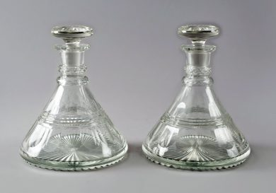 Cut-Glass Ship's Decanters