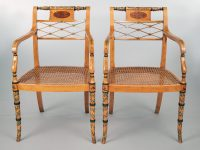 Pair Edwardian Satinwood Armchairs-Front View