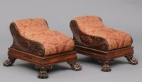 Pair English Antique Regency Footstools-Main Angled View