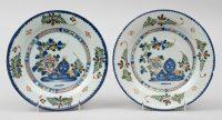 Pair English Delft Plates, 18th Century