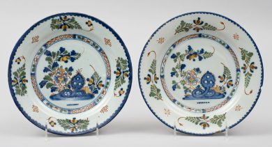 Pair English Delft Plates, 18th Century