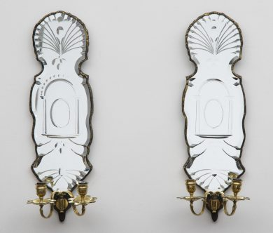 Pair French Mirrored Wall Sconces