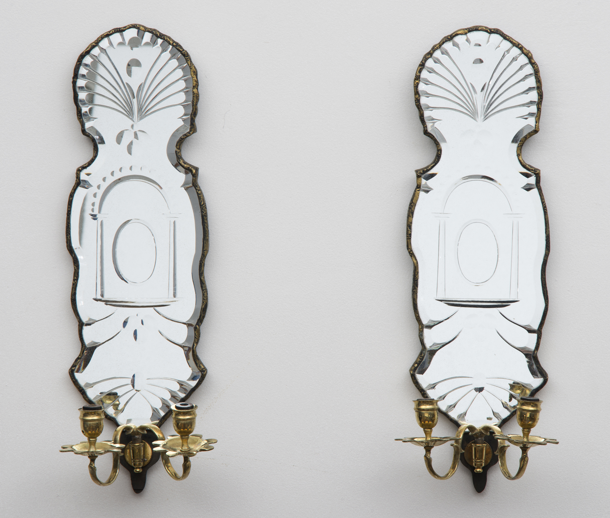 Finest Pair French Mirrored Wall Sconces UL47