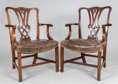 George III Style Mahogany Open Armchairs, a Pair