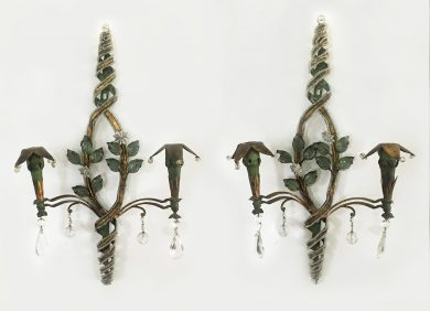 Pair of Tole Gilt Two-Light Wall Sconces
