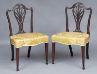 English Fine Pair Period Hepplewhite Side Chairs-Front Angled View