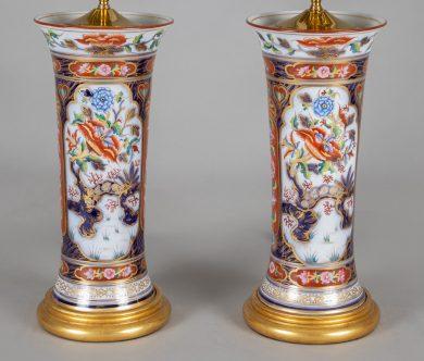Pair Imari Style Porcelain Lamps