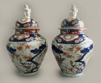 Pair Imari Vases with Lids & Foo Dog Finials