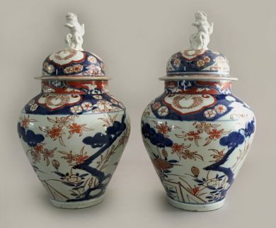 Pair Imari Vases with Lids & Foo Dog Finials