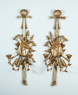 Pair of Italian Painted and Gilded Sconces