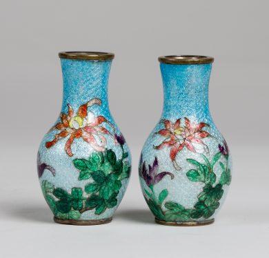Pair of Japanese Miniature Ginbari Cloisonne Vases