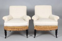 Napoleon III Cushioned Armchairs, A Pair