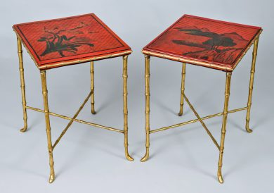 Harequin Pair of Chinoiserie Red Lacquered Side Tables