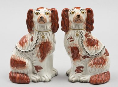 Pair Red Staffordshire Dogs