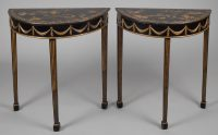 Pair of Regency Style Black Chinoiserie Demi-Lune Tables-Front Angle