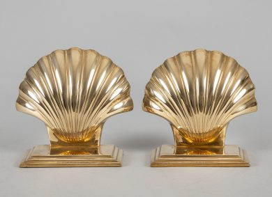Brass Shell-Shaped Bookends, a Pair