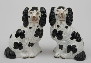 Pair Staffordshire Black & White Dogs