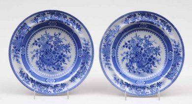 Pair Staffordshire Blue & White Soup Bowls