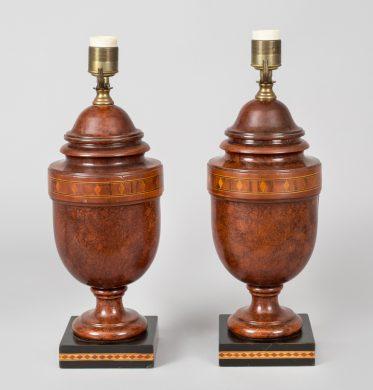 Pair of English Inlaid Walnut Lamps