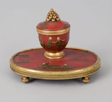 Antique Red Lacquered Chinoiserie and Bronze Inkstand
