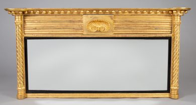 Regency Giltwood Overmantle Mirror With Shell