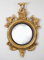 Regency Giltwood Convex Mirror with Dolphins