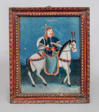 Reverse Glass Painting of a Mogul
