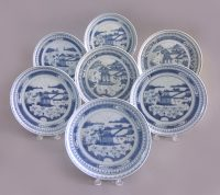 Set of 7 Antique Chinese Canton Blue and White Plates