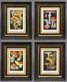 Set Four Framed Mushroom Chromolithographs, Circa 1890