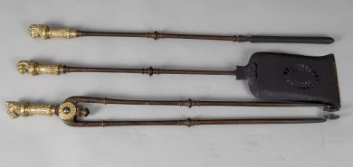 Bronze Fireplace Tools, A Set of Three