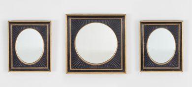 Set of Three Ebonized and Gilded Mirrors