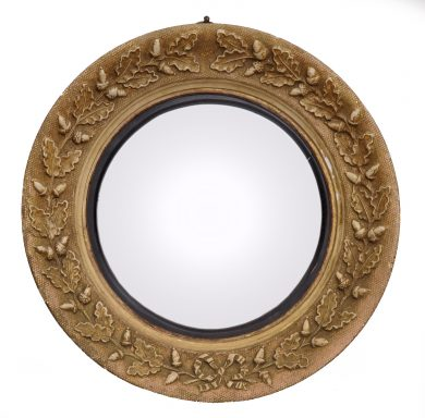 Small Antique English Convex Mirror with Acorns