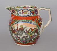 A Staffordshire Creamware Small Jug with Birds