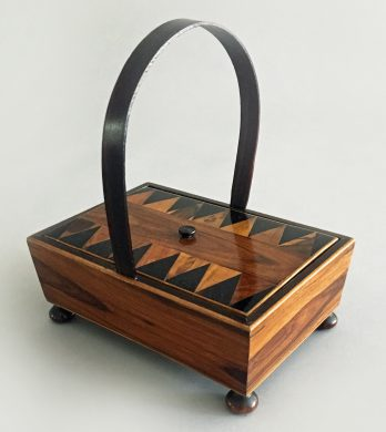 Rare Tunbridgeware Rosewood Sewing Box with Hoop Handle