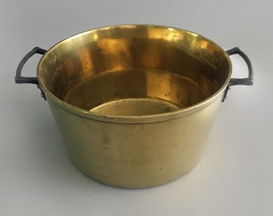 Antique Brass Pan with Iron Handles