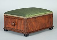 Circa 1870 Victorian Mahogany Antique Footstool Silk Drawer-Main Angled View