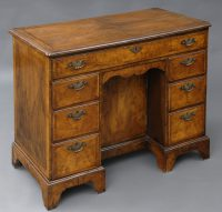 English Antique Walnut Ladies Kneehole Desk-Main Angled View