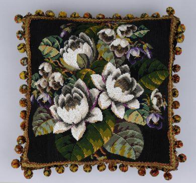 Victorian Wool Beaded Pillow, Circa 1860