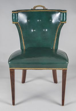 Vintage Green Leather Side Chair