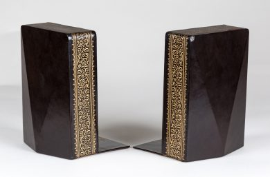 Pair Vintage Black Leather Bookends