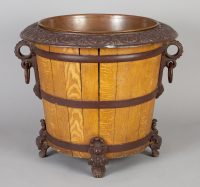 Wood and Cast Iron Jardiniere or Log Bin